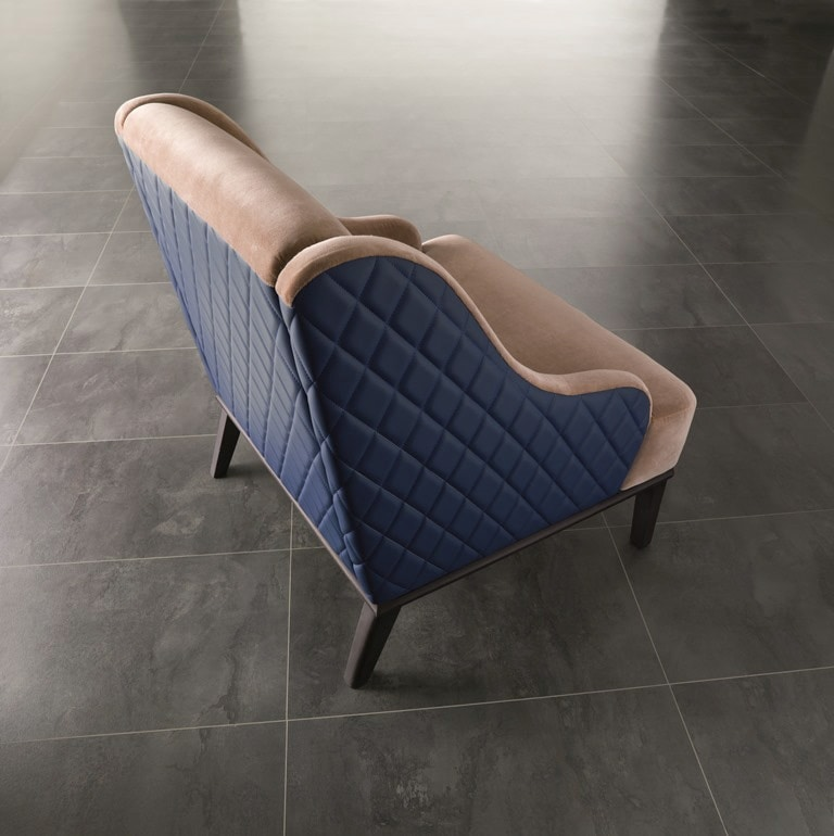 PO65 Square armchair, Comfortable armchair with rhombus-texture backrest.