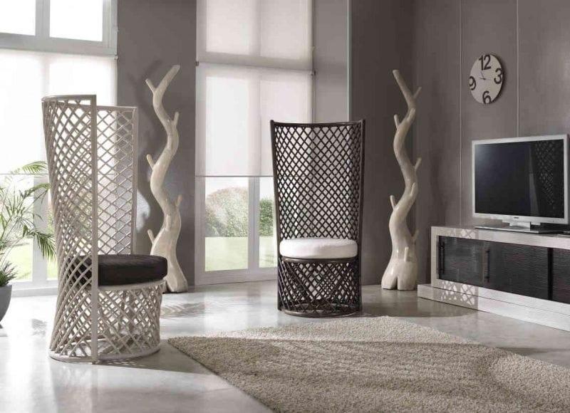Armchair Sansa, Ethnic rattan armchair with high back