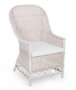 Poltrona Valentin, Ethnic armchair in white wicker