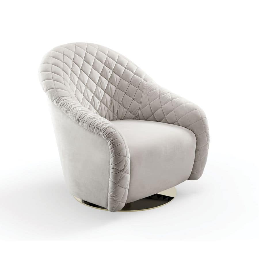 Portofino, Armchair upholstered and quilted by hand, rotating base
