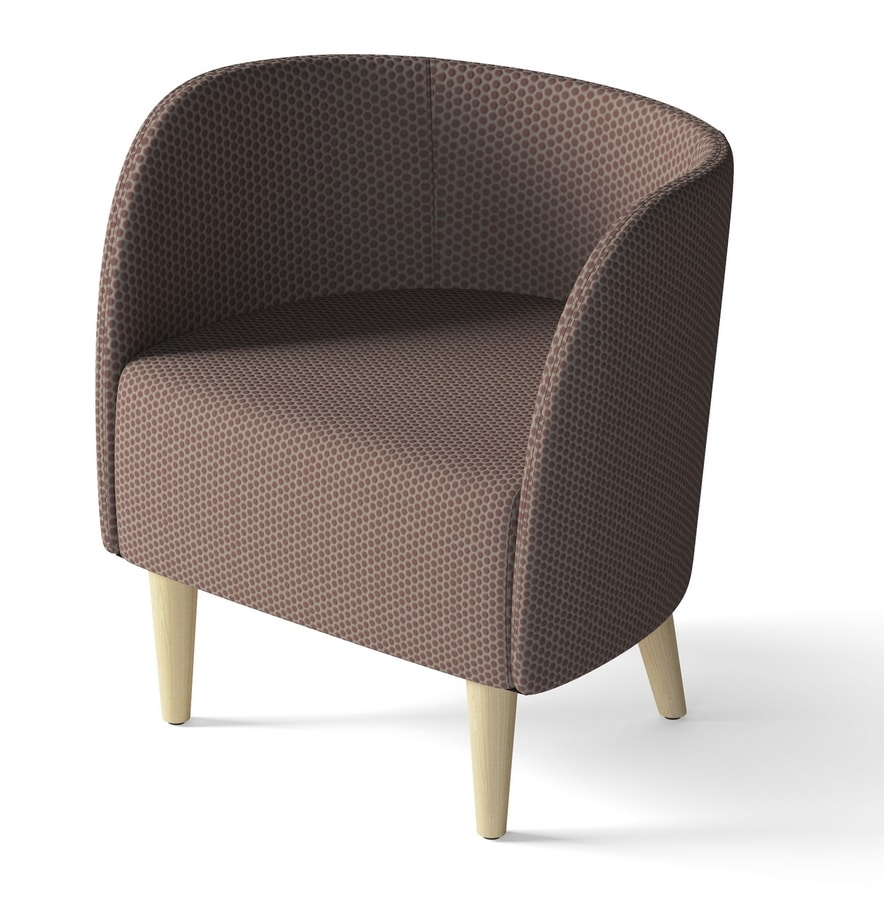 ROUND, Armchair with wooden feet, for waiting rooms