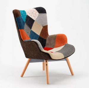 Sofa Chair Patchwork Scandinavian Padded Living Offices Patchy SP333PA, Armchair with Patchwork fabric