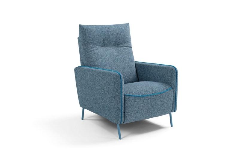 Tortona, Modern armchair in fabric or eco-leather