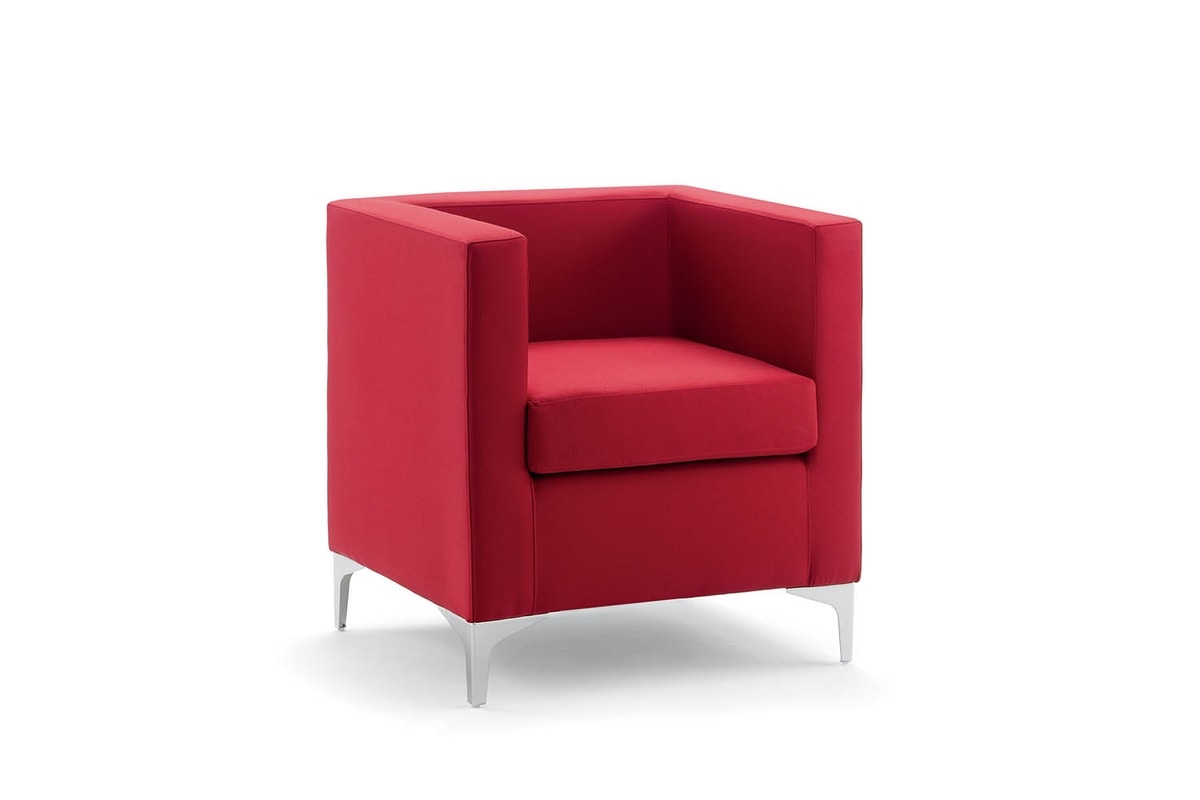 UF 163, Armchair with metal feet, square lines