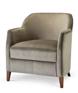 VERONA LOUNGE 1, Armchair upholstered in fabric with wooden feet