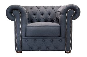 VICTORIA LOUNGE 1, Quilted armchair with wooden structure