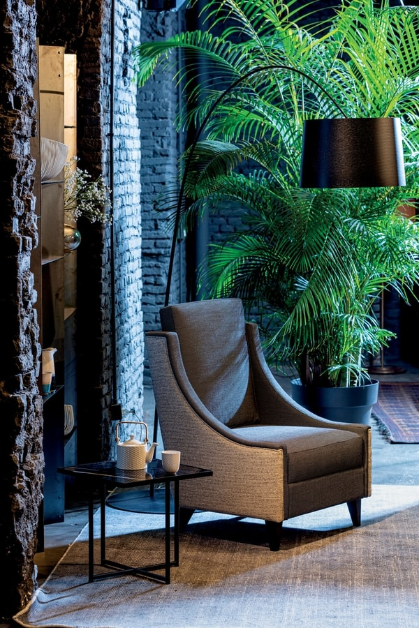 VICTORIA LOUNGE CHAIR 019 P, Armchair for spaces dedicated to relaxation