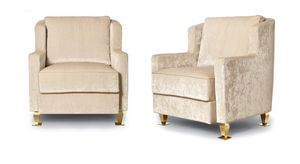 W02SA, Fabric armchair with metal feet