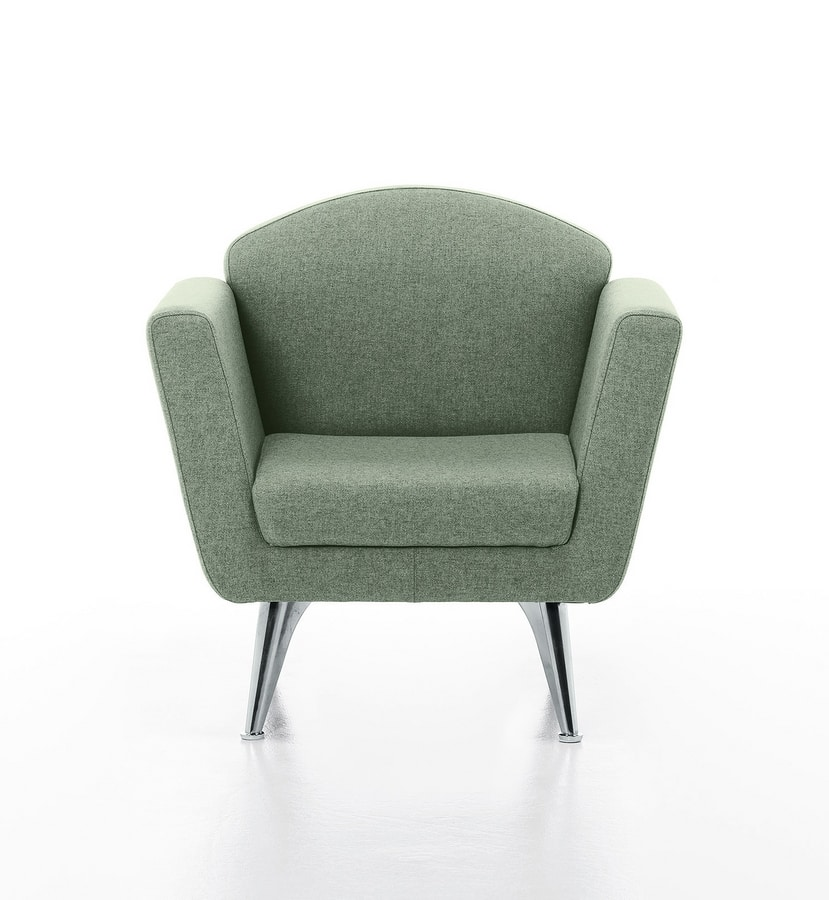 Wing 01, Modern upholstered armchair with steel feet