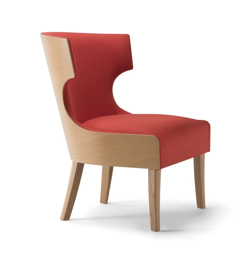 XIE LOUNGE CHAIR 053 P, Armchair with enveloping backrest