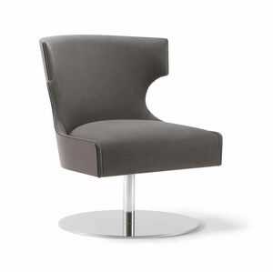 XIE LOUNGE CHAIR 053 P F, Armchair with disc base