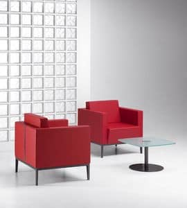 XILON 770, Modern padded armchair ideal for relaxation areas and lounges