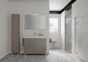 Basic comp.01, Freestanding bathroom cabinet with cercamic washbasin