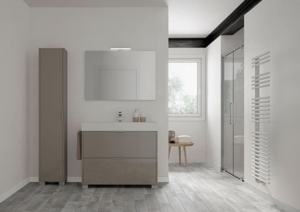 Basic comp.01, Freestanding bathroom cabinet with cercamic washbasin