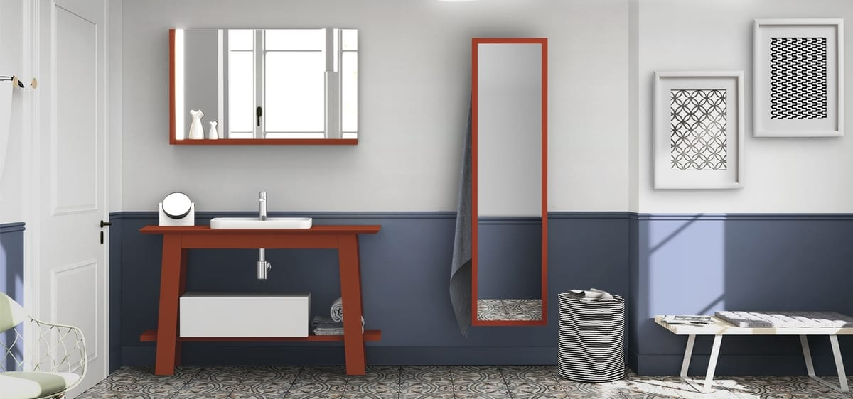 Bath Table 08, Coral red bathroom furniture