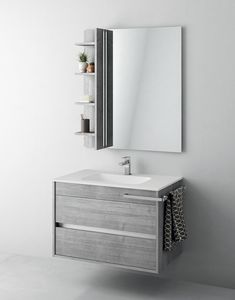 Duetto comp.01, Bathroom cabinet with mirror and storage compartment