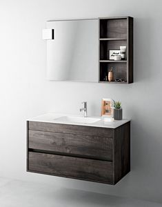 Duetto comp.03, Space-saving cabinet for bathroom with mirror and shelf