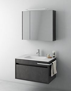 Duetto comp.07, Space-saving bathroom furniture with storage mirror