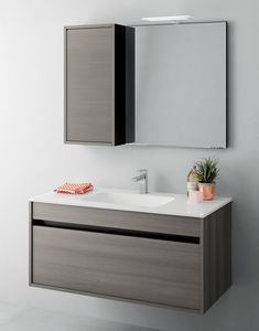 Duetto comp.10, Space-saving bathroom cabinet with drawers without handle