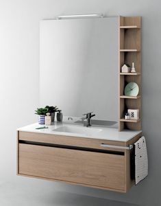 Duetto comp.11, Space-saving cabinet for bathroom with integrated light