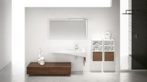 FLY 12, Bathroom furniture with cabinet with wheels