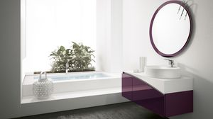 FLY 13, Bathroom cabinet with round mirror