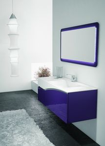 FLY 04, Purple and white cabinet for the bathroom