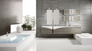 FLY 06, Complete furniture for bathroom with open wall units