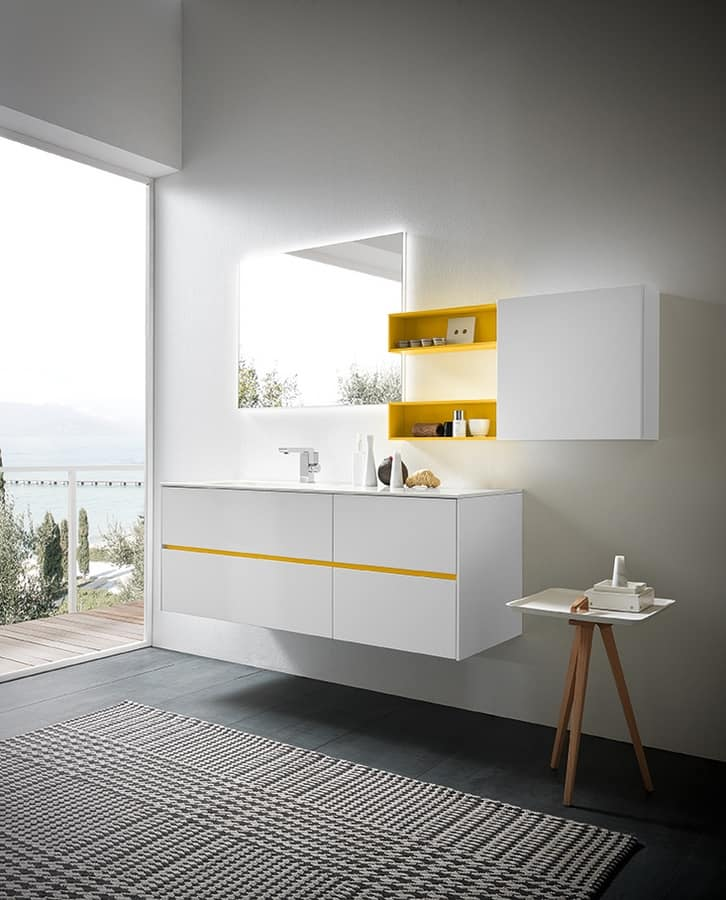 White Lacquered Furniture Intended Lime 20 Comp05 Luminous Cabinet For Bathroom Furniture In White Lacquered Idfdesign