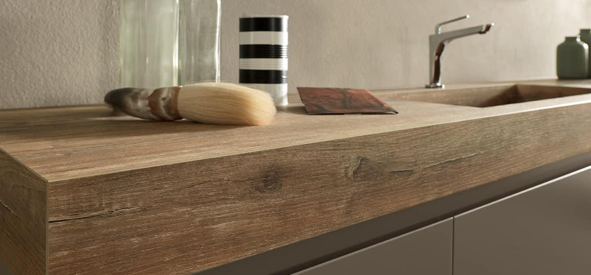 Elegant bathroom cabinet with hpl oak top and washbasin for Mobili legno moderni