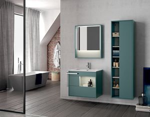 Lume comp.14, Wall-mounted bathroom cabinet with mirror