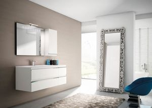 Mistral comp.01, Bathroom furniture in matt white lacquered finish