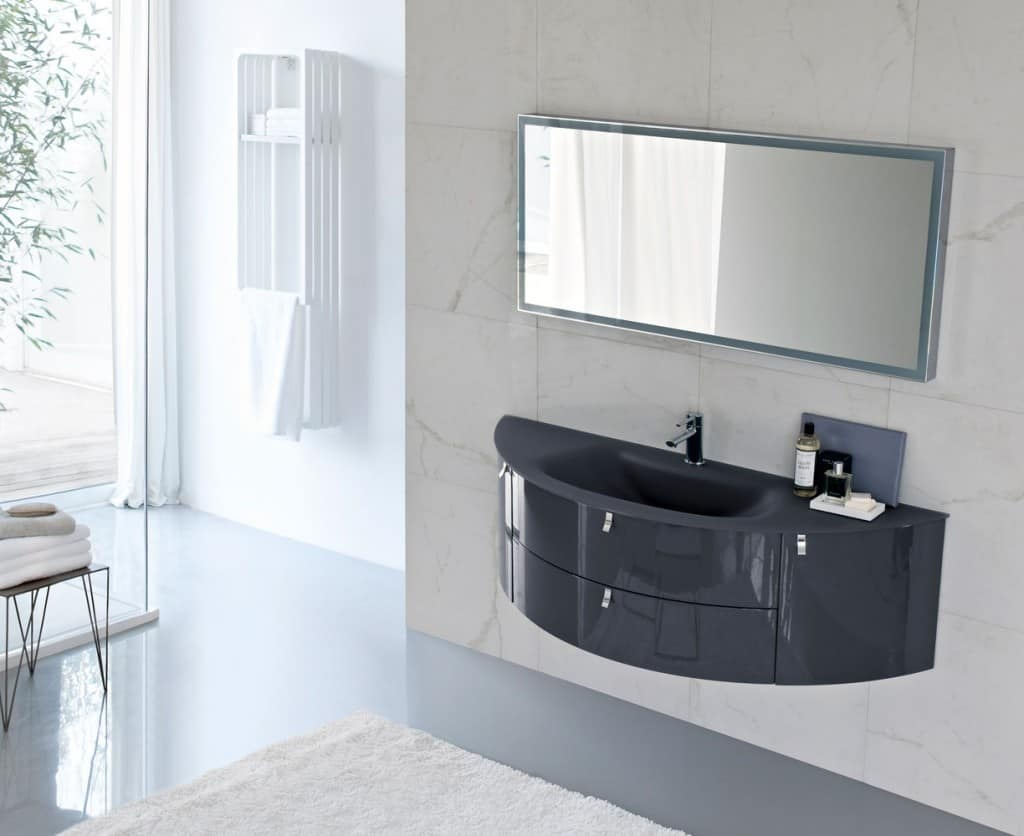 Curved Design Bathroom Cabinet With