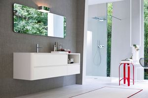 My seventy plus comp.01, White lacquered bathroom cabinet with essential design