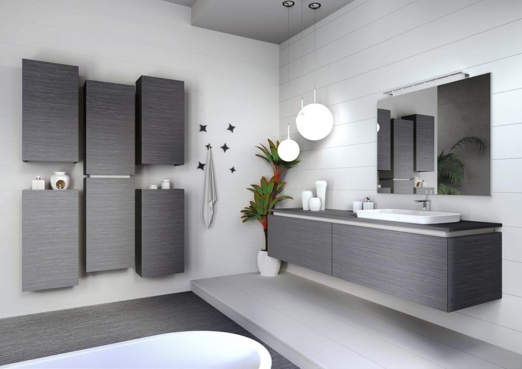 Plane 2D 04, Bathroom furniture in gray oak finish