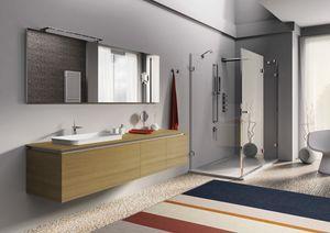 Plane 2D 05, Bathroom furniture in natural oak wood