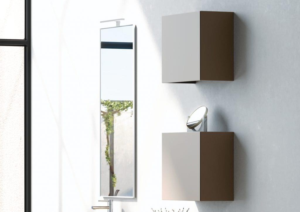 Plane ancient essences 01, Bathroom cabinet with aged elm finish