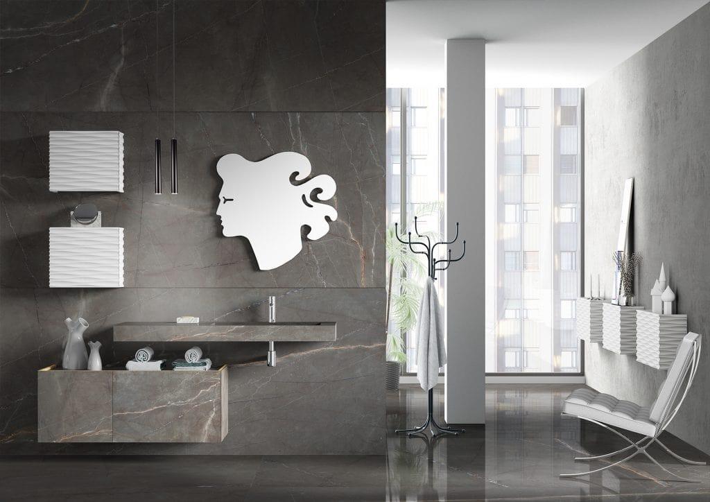 Plane Grés 02, Bathroom furniture with Grés fronts