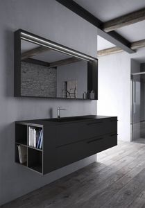 Sense comp.03, Bathroom furniture in black Fenix