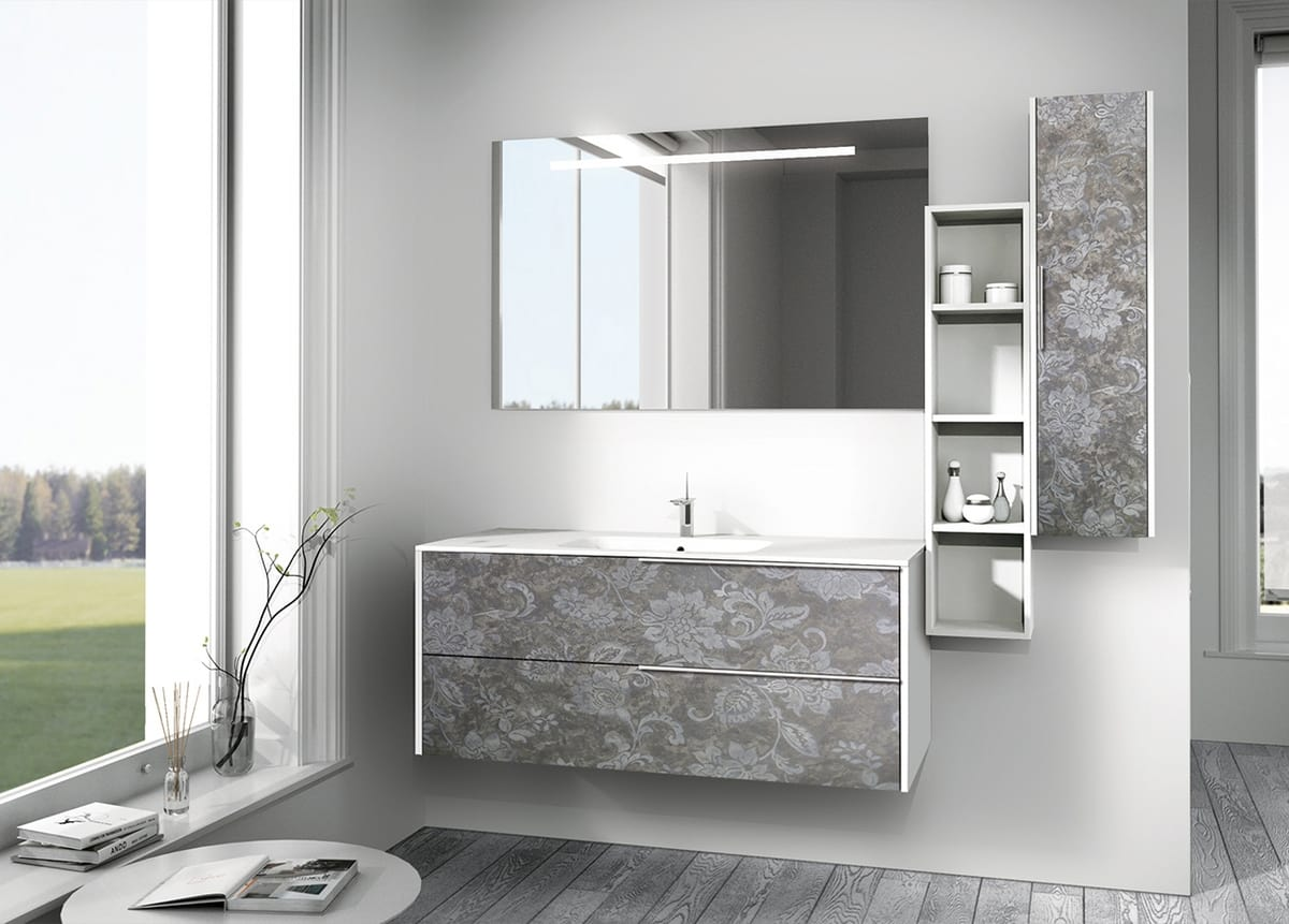 Singoli S 28, Bathroom cabinet with floral decoration