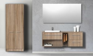 Singoli S 33, Bathroom cabinet in hazelnut elm finish