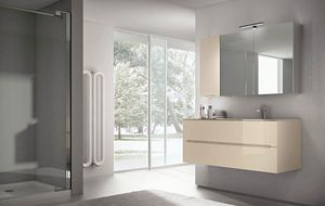 Smyle comp.01, Bathroom furniture, mirror with large storage compartment
