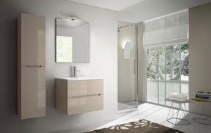 Smyle comp.08, Compact bathroom cabinet, with Mineralmarble top