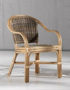 Armchair Aranda, Ethnic easy chair in natural reed
