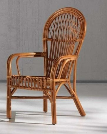 Armchair Sonia, Rattan easy chair with high back