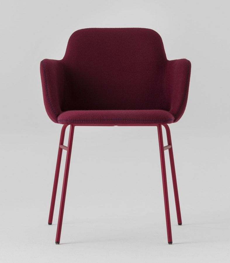 ART. 0034-MET-TU-CB-UPH BARDOT, Modern armchair with padded armrests