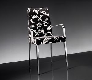 ART. 247/1/B 247/2/B HOLLYWOOD ARMCHAIR, Armchair in chrome-plated metal, upholstered in fabric or leather