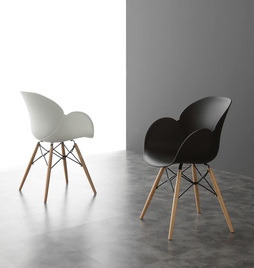 Art. 290 Lotus Wood, Elegant chair with polypropylene shell, wooden legs