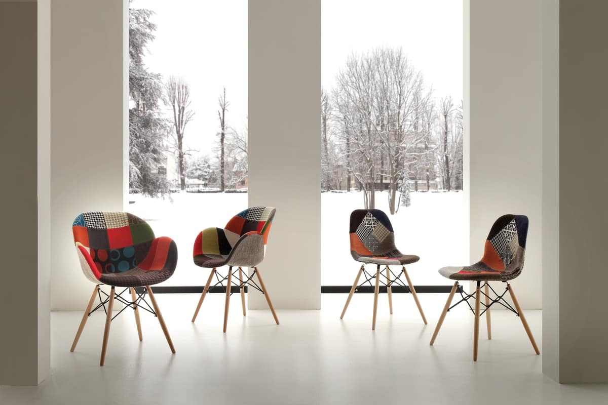 Art. 291 Lotus Patch, Armchair with patchwork fabric, beechwood and metal structure