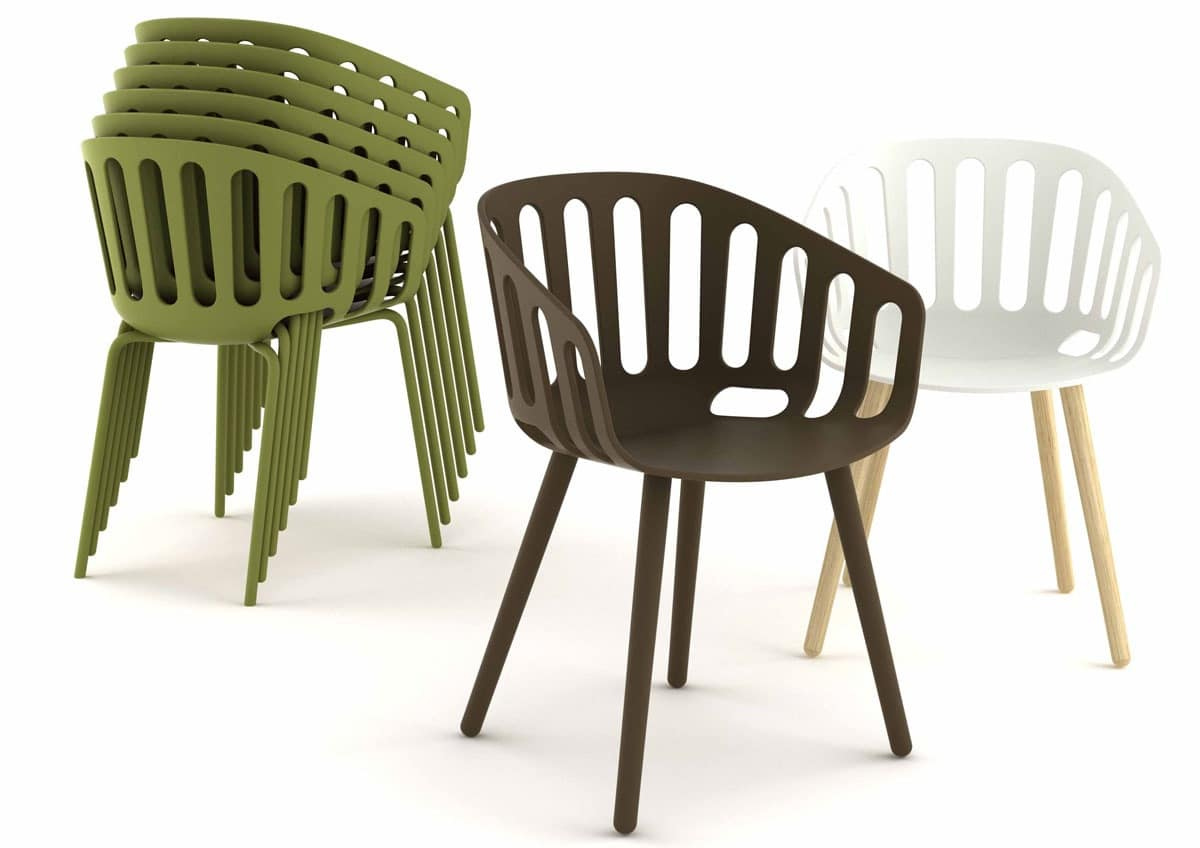 Basket, Modern stackable armchair, coverable, for outdoors
